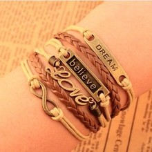 Europe and United States retro LOVE dream 8 words of faith in the beautiful fashion beautiful leather woven multilayer Bracelet(China)