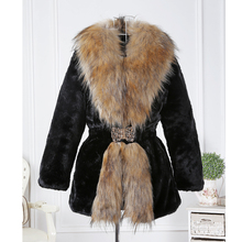 2016 Winter New Wome long Design Faux patchwork long hair collar Outerwear  Fur Coat