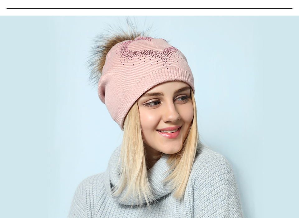 Ralferty 2018 New Real Fur Pompom Hats For Women Heart Pom Pom Beanies Thick Warm Wool Knitted Hat Women's Baggy Caps Bonnet 6