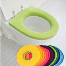 Warmer Toilet Seat Cover for Bathroom Products Pedestal Pan Cushion Pads Lycra Use In O-shaped Flush Comfortable Toilet Random(China)