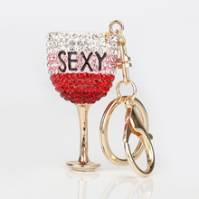 Cute Goblet Rhinestone Key Chain Ring Crystal Wine Glasses Juice Cup Key Chains Rings Holder Enamel Bag Pendant For Car Gift