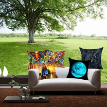 Homing Art Painting Cushion Covers Pattern Waist Cushion Covers for Sofa Chair Square Printed Linen Cushion Cover Colorful(China)