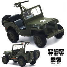 1:32 Scale Willys Jeep High Simulation Military Vehicle Model With Pull Back Acousto-optic Alloy Toy Diecast Metal Car Baby Toys(China)