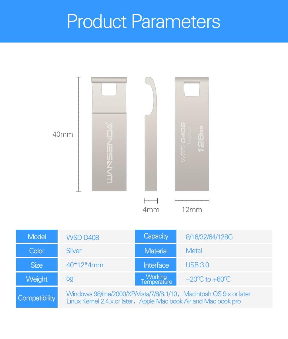 WANSENDA USB Flash Drive Disk 8G 16G 32G 64G USB 3.0 Metal Mini Pen Drive Pendrive Memory Stick Storage Device U Disk
