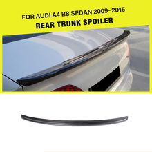 JC Style Carbon Fiber Auto Car Rear Trunk Boot Lip Spoiler Sticker Wing For Audi A4 B8 B9 2009-2015(China)