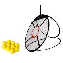 24''/ 61cm Golf Chipping Pitching Practice Net + 10 Pieces Yellow Soft PU Golf Training Balls(China)