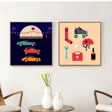 Children's toys and cars under the night Painting Canvas Nordic Minimalist Art poster Canvas Picture for Kids Room Study Decor(China)