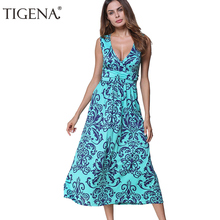 TIGENA Sexy Deep V-neck Wrap Summer dress 2018 Women Summer Sundress Sleeveless Tunic Boho Beach Casual Dress Robe Femme(China)