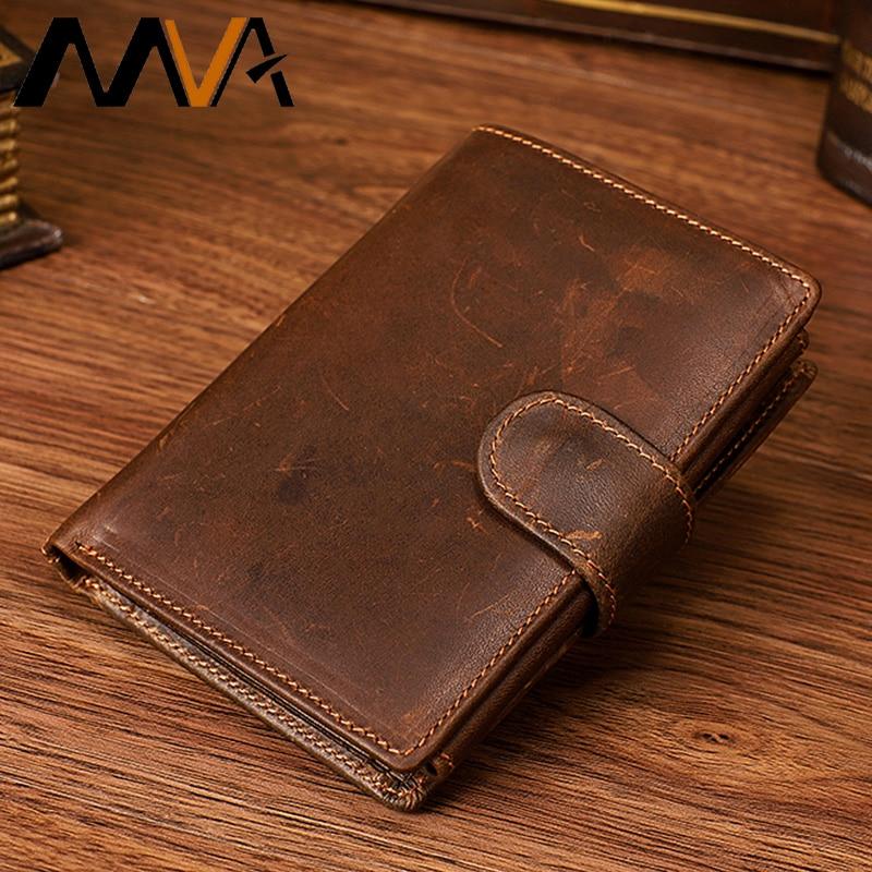 KAVIS Rfid 100/% Genuine Crazy Horse Leather Wallet Men Small Walet Portomonee Ma