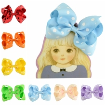Dot 4.5 inch 15pcs/dot Children Wave Dots Ribbon Bows With Clip Boutique Bows DIY Hair Accessorises For 671(China)