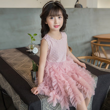 Brand 2017 Summer Dress Girl Dress Lace Gauze Prince Vest Girl Party Sundress Layered childrens fancy dress kids clothes 2-10Y(China)