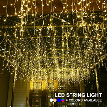Outdoor String Lights 5M 16.4ft Curtain Icicle droop 0.4m 0.5m 0.6m LED Garland for Christmas Holiday Wedding Party Decoration(China)