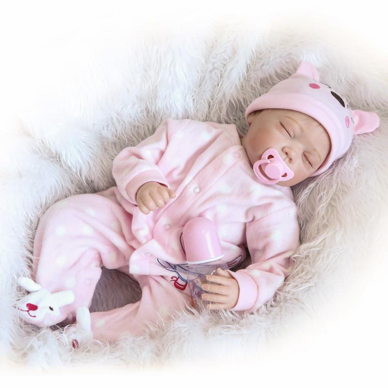 22 inch 55 cm baby reborn Silicone dolls, lifelike doll reborn Cute pink piece of clothing to sleep baby <br><br>Aliexpress