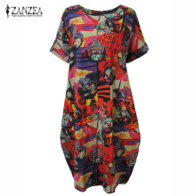 Buy ZANZEA 2018 Summer Casual Loose Cotton Linen Oversize Floral Print Midi Dress Women Vintage Short Sleeve Vestidos Shift Dresses for $15.00 in AliExpress store