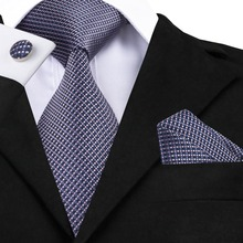 Popular Men's Ties Classic Plaid Mix Color Tie Handkerchief Pocket Cufflinks Set Fashion Neck Tie for Men C-660