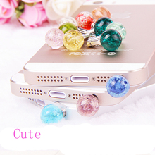 2017 Hot Sale Luminous Crystal Glow Anti Dust Cap Earphone Jack Plug Stopper For Cell Phone