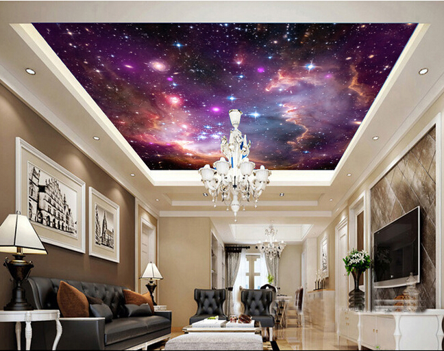 Beautiful starry sky large wallpaper for living room tv wall children room,hotel ktv bar wallpaper for walls 3 d <br>