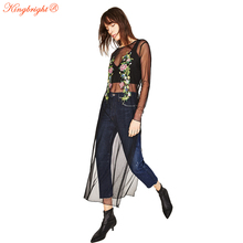 King Bright 2017 Spring New Fashion O-neck Embroidery Grenadine Smock Dress Half Sleeve Personalized Big Pendulum Type Black