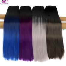 Neverland 24'' Straight Hair Clip in Hair Extensions Black Blue Silver Purple One Piece 5Clip Heat Resistant Synthetic Hairpiece(China)