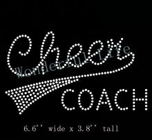 "Free Shipping  Rhinestone Iron On Transfer ""Cheer Coaach"" - Crystal Bling Design Cheerleading"