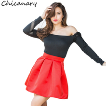 Buy Chicanary 2018 Summer England Style High Waist A-line Pleated Skirts Women Solid Mini Skirt for $12.59 in AliExpress store
