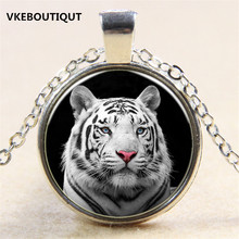 Hot! 3 Color White Tiger Head Pendant Necklace Antique 3/Color Chain Glass Necklace Vintage Jewelry Gift For Women Men(China)