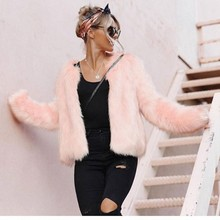 Free Shopping Women Winter Warm Long Sleeve Outerwear Coat Waistcoat Jacket Casual Pink Cardigan Faux Fur Coat Veste Fourrure#21(China)