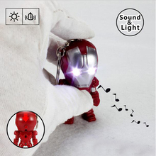 New Arrival The Avengers Iron Man LED Flashlight Action Figures Toys With Sound Keychain Bags Accessories Gifts