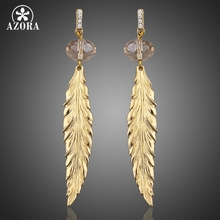 AZORA Sparkling Leaf Drop Gold Color Stellux Austrian Crystal Dangling Earrings TE0035(China)