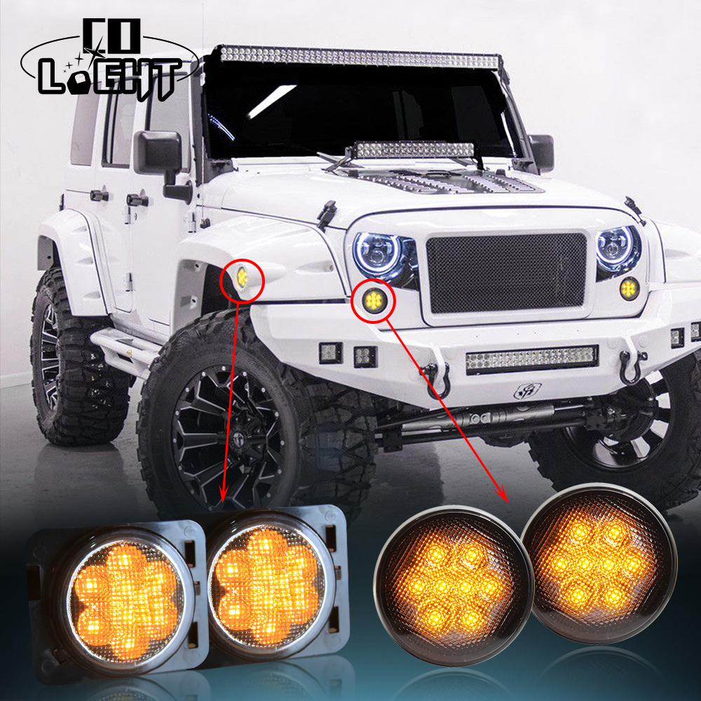 CO LIGHT Black 2x Front LED Turn Signal Lights + 2x Front Fender Flares Turn Signal Light Side Marker For Jeep Wrangler JK<br>