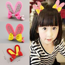 Hot !Cute High Quality Rabbit Ears With Resin Diamond And Bow Children Accessories  Hair Accessories Girls Hair Clip Hairpins