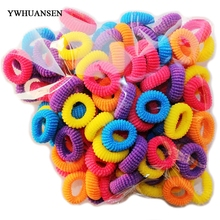 YWHUANSEN Free shipping 100pcs/lot Mix color small ponytail holder Candy color elastic bands for kids Popular headbands scrunchy(China)