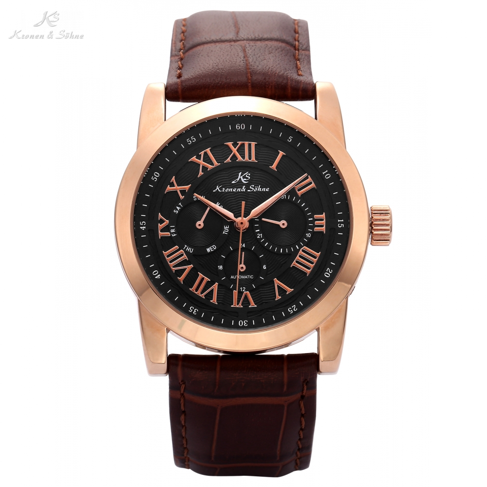 KS Rose Gold Imperial Date Calendar Automatic Mechanical Watches Men Brown Leather Analog Wrist Watch Horloges Mannen Gift/KS324<br>