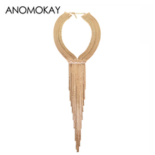 HOT Selling Long Alloy Tassel Fashion Necklace European & American Style Casual Necklace for Party Wedding University