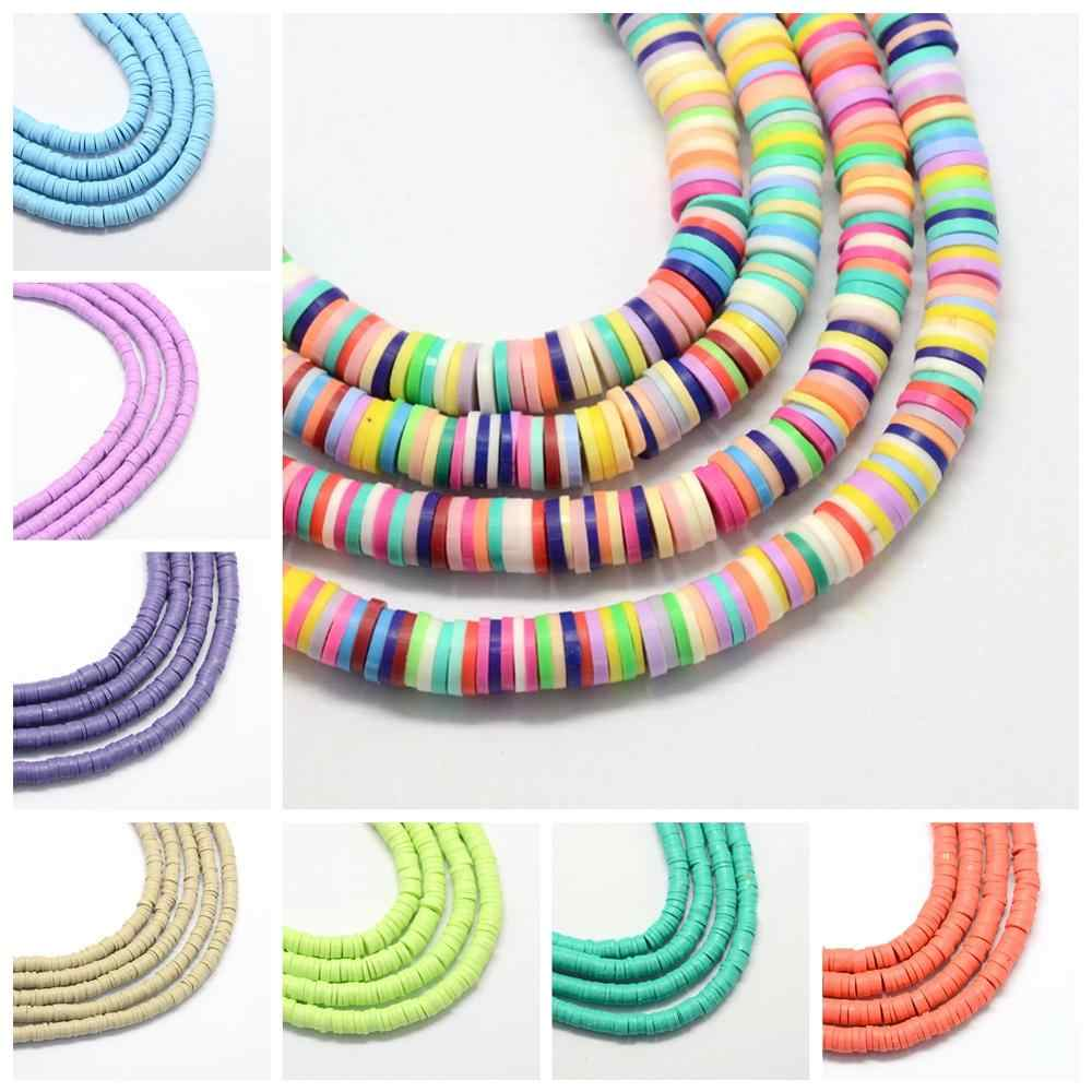 400pcs//Strand Flat Disc Polymer Clay Loose Spacer Beads for DIY Jewelry Making#G