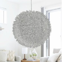 promotion contemporary light 40cm Aluminum Wire Ball Pendant Lamp Lighting Silver bedroom  lamp light G4 bulbs