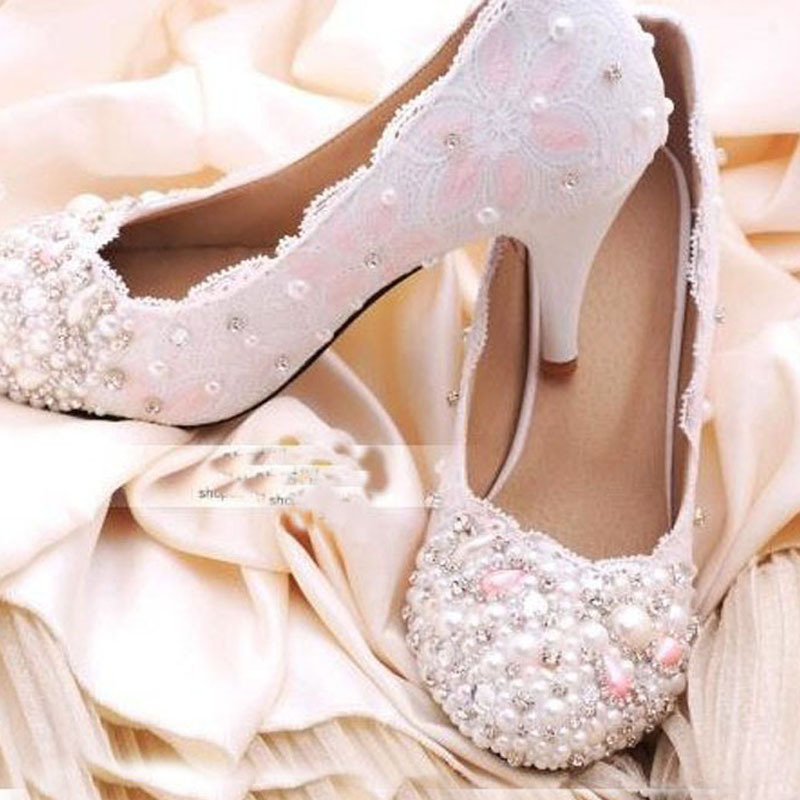 new luxury handmade Fashion Imitation pearl lace shoes Girl friend Gift white wedding Bridal shoes Elegant 8cm 10cm Size 40<br><br>Aliexpress