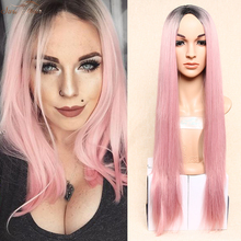 Long straight Synthetic Wigs For Black Women Ombre pink pruiken Wig overwatch pink wig dark root cheap wigs for women cosplay