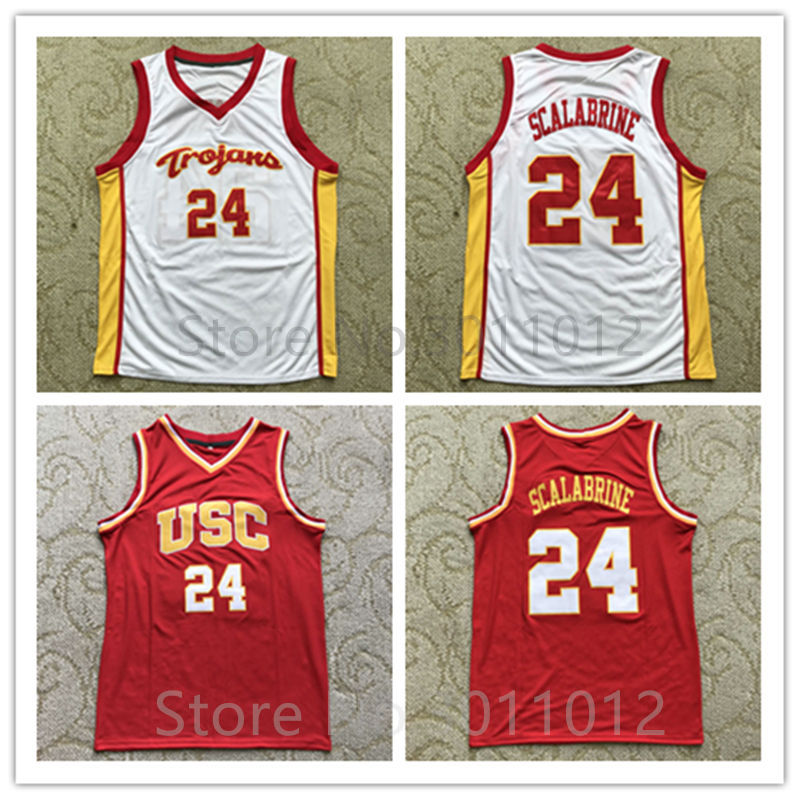 BRIAN SCALABRINE White Mamba USC Trojans Throwback College Basketball Jersey Embroidery Stitched Custom Any Name and Number(China)