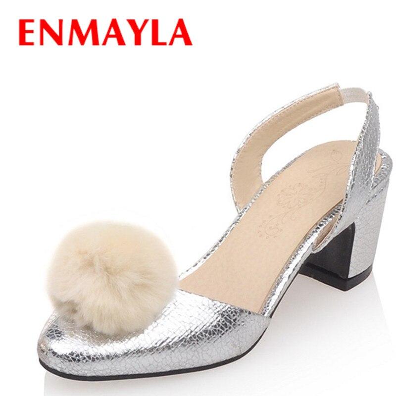 ENAMYLA Women High Heels Summer Sandals Shoes Woman Golden Shoes Platform Size 33-43 Round Toe Sandals Pumps Party Shoes<br>