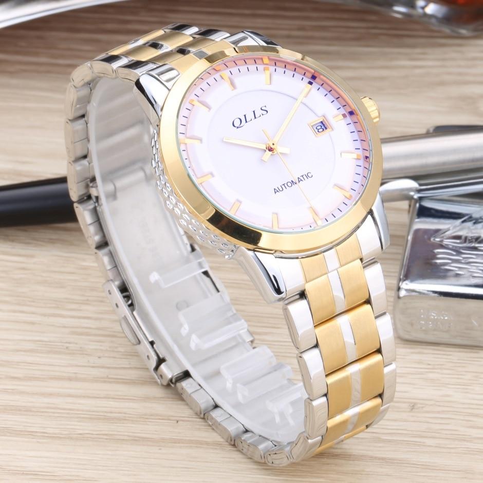 2017 QLLS gold skeleton watch Top Brand Luxury watch for men Steel Mechanical Clock Male Wristwatches reloj hombre<br>