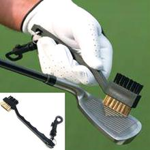 New Useful 2-sided Brass Wires Nylon Golf Brush Clip Groove Ball Cleaner Cleaning Kit Tool