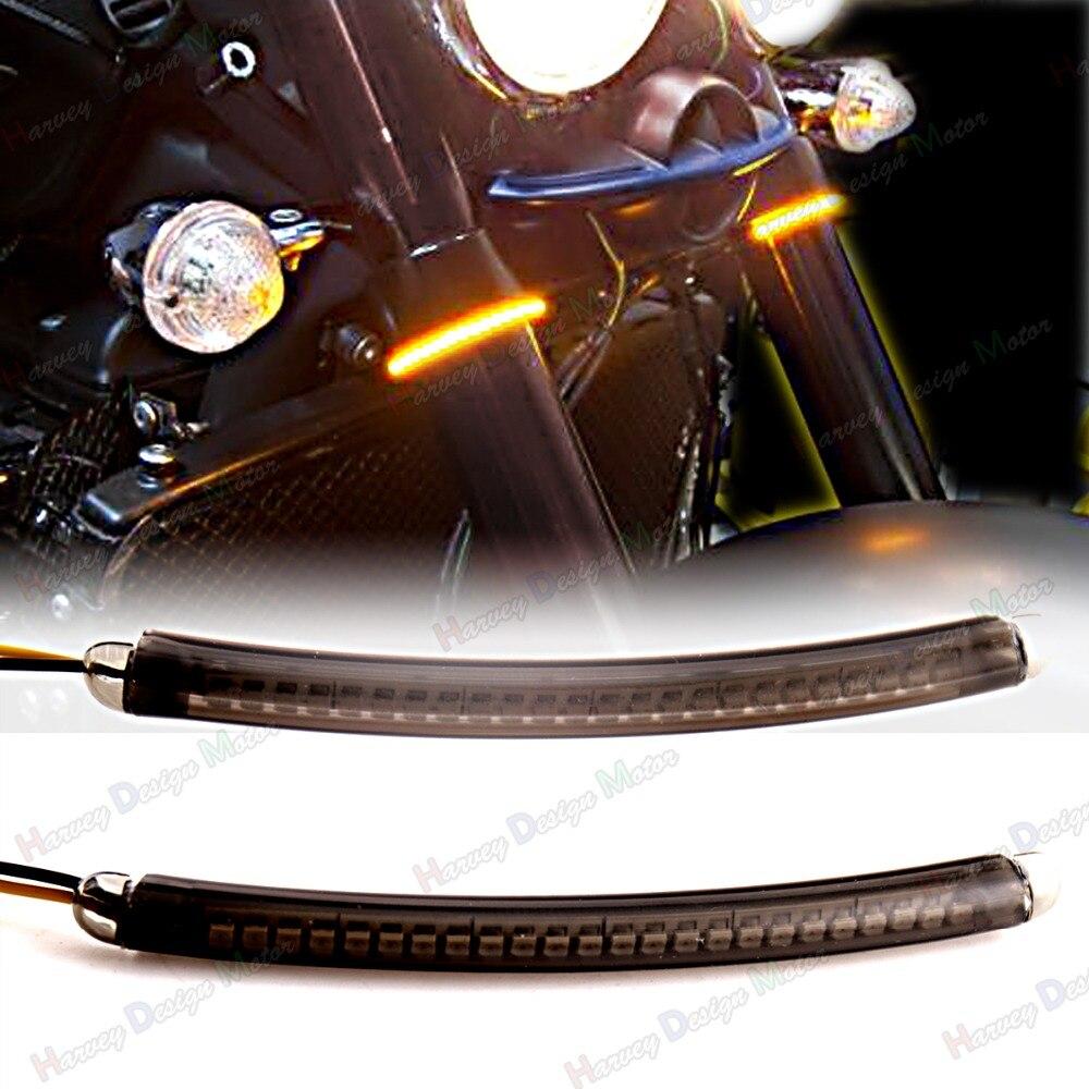 LED 52mm-58mm Fork Turn Signal Light Smoked Lens For Hammer&amp;Kingpin&amp;Motorcycle VTX<br>