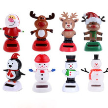 Fashion Types Cute Solar Powered Dancing Toys For Table Desk Home Car Xmas Decor New Christmas Figurines(China)