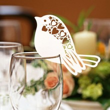 50Pcs/lot Bird Shape Wine Glass Place Cards Table Mark Name Paper Laser Cut Cards For Wedding Party Decoration