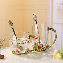 301-400ml Set enamel glass Drinking glass cup Apricot flowers Lead-free glass In stock Custom gift wholesale business gift(China)