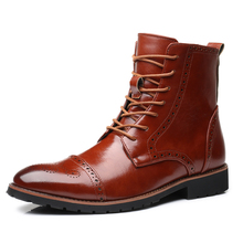 Men 첨 발가락 Boots 패션 Autumn Winter Men Mid-Calf Boots Men 가죽 Motorcycle Boots Retro 브로그 (High) 저 (탑 부츠 Dropship(China)