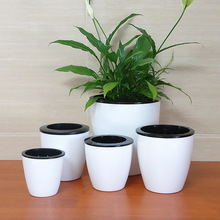 5pcs NO-NEED-WATERING plastic flower pot,glazed planter for garden succulent orchid plant indoor bonsai box stand flowerpot,mini