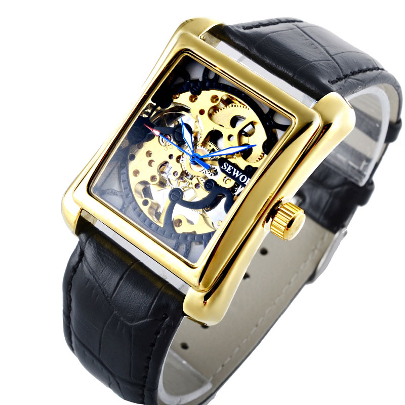 Luxury Brands Men Women Skeleton Mechanical Wrist Watches Classic Black Leather Strap Fashion Gift With Watch BOX<br><br>Aliexpress