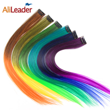 AliLeader 20 Colors Highlight Ombre Red Green Blue Blonde Clip In Hair Extensions Synthetic Hair Piece Clip On 1 Piece 50CM(China)